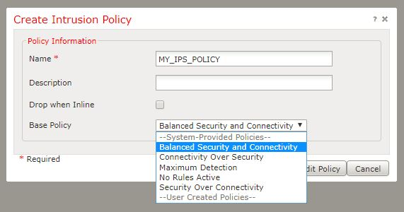 Screenshot of port IPS policy creation